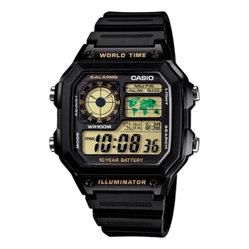 CASIO 雷霆世界武士休閒數位錶(膠帶/黃色液晶面) AE-1200WH-1B