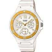 《CASIO》潛水運動風魅力三眼亮彩女錶(金黃色框) LRW-250H-9A1