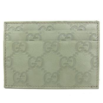 GUCCI Guccissimad雙層皮革壓紋名片夾(粉綠)262837 AA600 1815