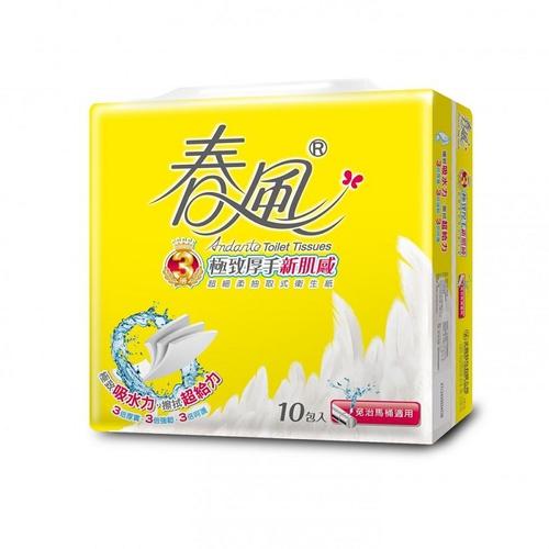 春風 三層厚手新肌感抽取衛生紙(100抽*10包/串)