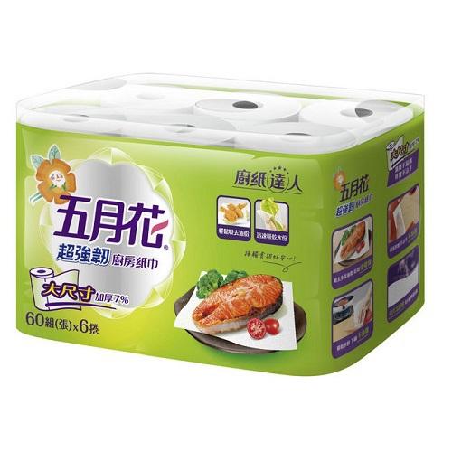 五月花 超強韌廚房紙巾(60張*6捲/袋)