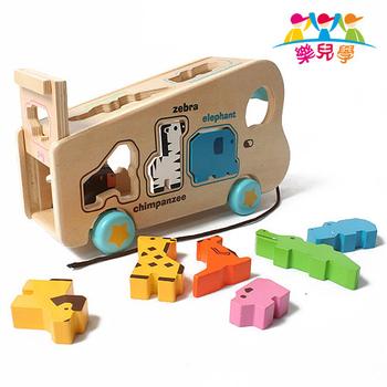 樂兒學 可愛動物遊園車單字益智木製學習積木