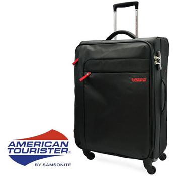 ★結帳現折★American Tourister 美國旅行者 SURF超輕量25吋可擴充加大布面四輪頂級拉桿行李箱(黑)