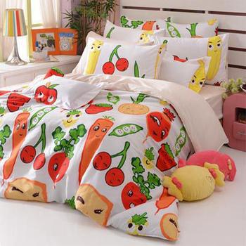 Fancy Belle 蔬果樂園。雙人四件式舖棉兩用被床包組