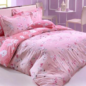 La Belle 粉黛花語。雙人四件式舖棉兩用被床包組