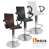 《LOGIS》御用曲木皮墊扶手高吧椅(黑色)