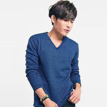 FATAN 雙色條紋V領毛衣-共三色(藍)