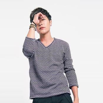 FATAN 雙色條紋V領毛衣-共三色(紫)