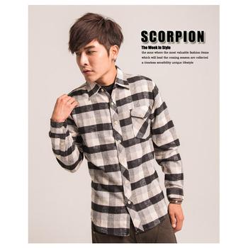 SCORPION 單口袋格紋長袖襯衫-共二色(黑L)