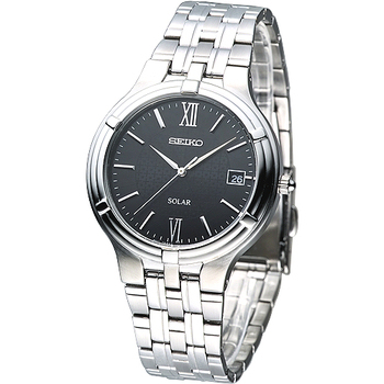 SEIKO 經典時尚環保光動能腕錶-黑 SNE027P1