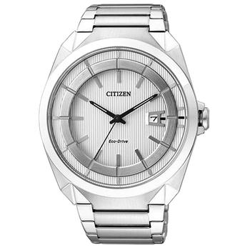 CITIZEN Eco-Drive 光動能鋼鐵腕錶-銀白(AW1010-57B)