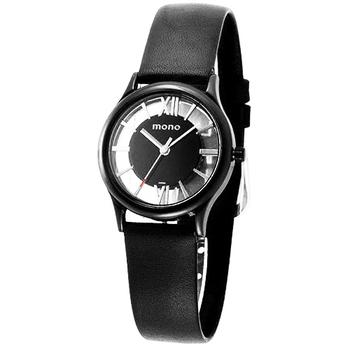 mono 趙駿亞代言-鏤空系列-雙面鏤空黑面羅馬字小羊皮錶/皮帶錶(小型)