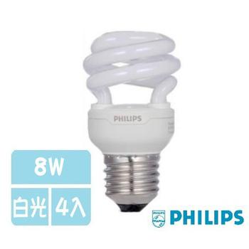《飛利浦》T2螺旋燈泡-8W -4入(白光)