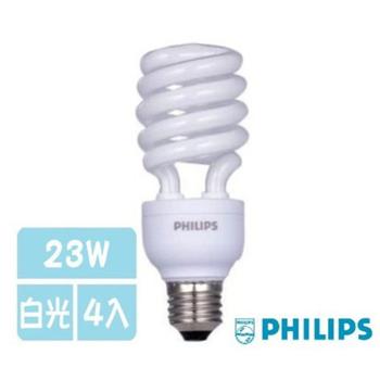 飛利浦 T3螺旋燈泡-23W -4入(白光)