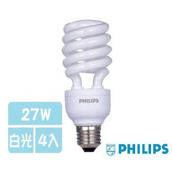 飛利浦 T3螺旋燈泡-27W -4入(白光)