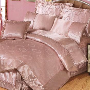 GALATEA 紫樣迷情。歐風雙人七件式絲緞緹花鋪綿床罩組