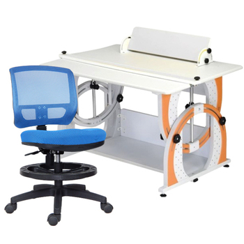 《時尚屋》DIY兒童成長書桌椅組DE-100(橘桌/藍椅)