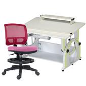 《時尚屋》DIY兒童成長書桌椅組DE-100A(綠桌/紅椅)