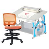 《時尚屋》DIY兒童成長書桌椅組DF-100(藍桌/橘椅)
