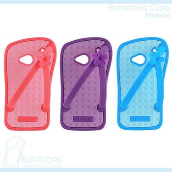 Miravivi NEW HTC ONE 夏日風情夾腳拖軟式保護套(甜美粉)
