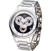 《Calvin Klein》重裝搖滾風3眼計時腕錶-黑 K2A27104