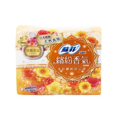 《蘇菲》繽紛香氣超薄護墊 14cm-淡雅香氛(80片/包)