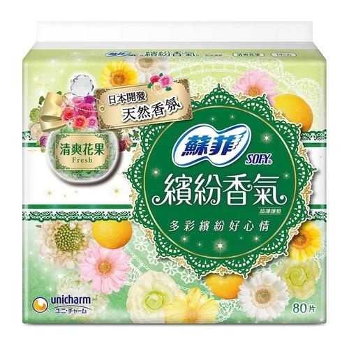 《蘇菲》繽紛香氣超薄護墊-清爽花果(80片/包)