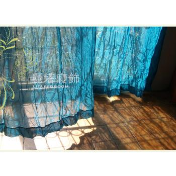 LITA麗塔 流浪之歌-湖水綠。DIY穿桿式透光窗簾-M簾(130*150CM)