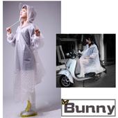 《Bunny》日式斗篷式EVA 機車防風雨衣(藍色波點)