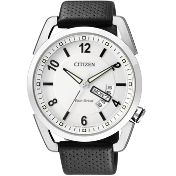 CITIZEN Eco-Drive 光動能 紳士皮帶腕錶(AW0010-01A-白面)
