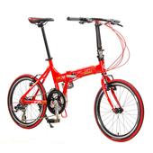 《FUSIN》FA700-20吋鋁合金24速Shimano定位變速摺疊車/腳踏車(熱情紅)