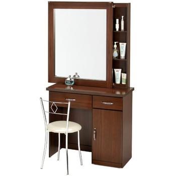 Homelike 艾凡收納化妝桌椅組(胡桃木紋)