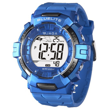 JAGA捷卡 M979游泳指定100米多功能電子錶(B-藍色)