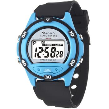 JAGA捷卡 M267游泳指定 防水多功能運動電子錶(黑淺藍)