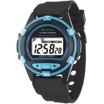 JAGA捷卡 M267游泳指定 防水多功能運動電子錶(藍框)