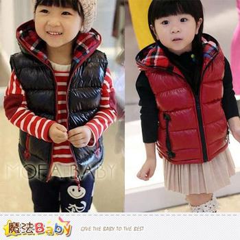 魔法Baby 韓版厚款鋪棉連帽無袖外套/夾克(黑.紅)~男女童裝~k32840(黑/120)