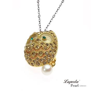 大東山珠寶 Luperla L&H童話森林系列 奢華滿鑽貓頭鷹珍珠項鍊(高雅金)