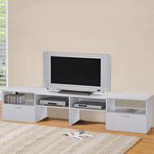《LOGIS》多功能伸縮組合電視櫃-2色(純白)