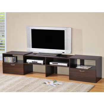 LOGIS 多功能伸縮組合電視櫃-2色(胡桃色)