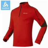 ~瑞士 ODLO~男款 半門襟高彈性長袖輕量保暖中層衣 220542 紅 黑L