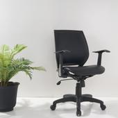 時尚透氣皮面座墊電腦辦公椅(黑色)