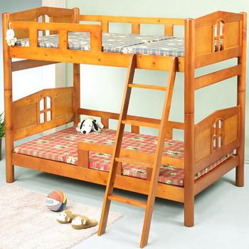 BuyJM 小木屋3.5呎實木雙層床(原木色)