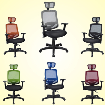 《BuyJM》高背網布多功能護腰辦公椅-6色(黑)