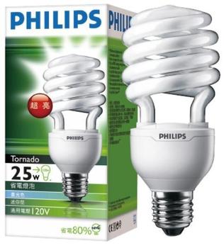 飛利浦 高功率 25W T3省電燈泡(白)