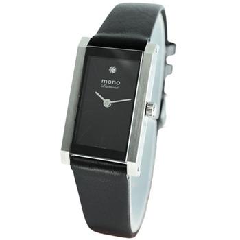 mono 趙駿亞代言-真鑽系列-時尚簡約黑面隱型釘字小羊皮錶(大型)