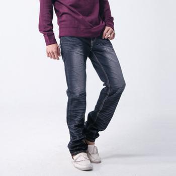 FATAN 金線環繞圖騰立體壓皺彈力牛仔褲(L)
