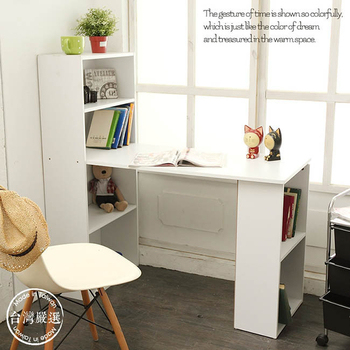 經典雙向書櫃書桌(天使白)