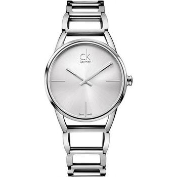 Calvin Klein Stately 時尚鏤空鍊帶腕錶(K3G23126-銀白)