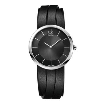 Calvin klein Ladies 凱文克萊女皮帶錶(K2R2M1C1-黑面 M)