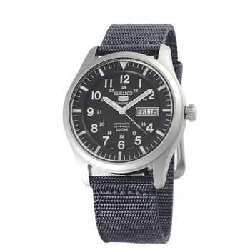 SEIKO 5號新世代陸戰隊帆布機械錶-日本版(SNZG15-黑色)